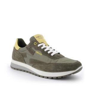 Sneaker in scamosciato e tessuto verde militare IGI&CO
