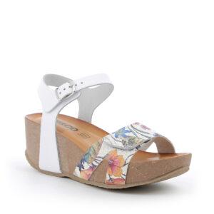 Sandalo con zeppa in pelle bianco e stampa floreale IGI&CO