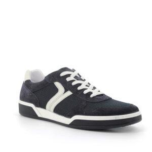 Sneaker in scamosciato e tessuto blu scuro con banda laterale ornamentaleIGI&CO