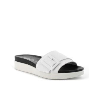 Sandalo a fascia bianco con maxi fibbia IGI&CO