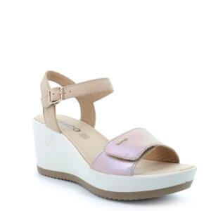 Sandalo con zeppa in pelle laminata effetto cangiante beige chiaro IGI&CO