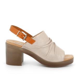 Sandalo con tacco in pelle laminata stampata effetto serpente beige chiaro IGI&CO
