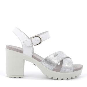 Sandalo con tacco in scamosciato laminato/pelle argento IGI&CO