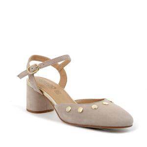Sandalo con tacco in scamosciato beige con borchiette e dettagli dorati IGI&CO