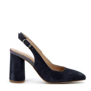 Sandalo a punta con tacco alto in scamosciato blu scuro IGI&CO