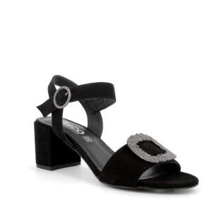 Sandalo con tacco in scamosciato nero con dettaglio luminoso IGI&CO