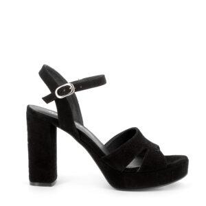 Sandalo con tacco e plateau in scamosciato nero IGI&CO