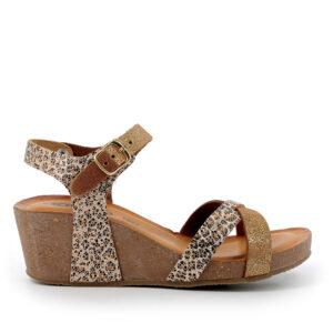 Sandalo con zeppa in pelle stampa animalier marrone e pelle laminata oro IGI&CO