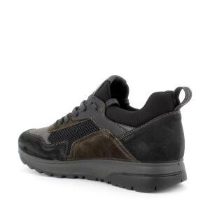 Sneaker in pelle e tessuto elasticizzato nero-beige\IGI&CO