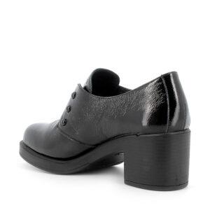 Scarpa con tacco in vernice nero chiusura ad elastico in lurex e borchiette decorative\IGI&CO