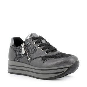 Sneaker in pelle e pelle sintetica stampata nero con zip laterale\IGI&CO