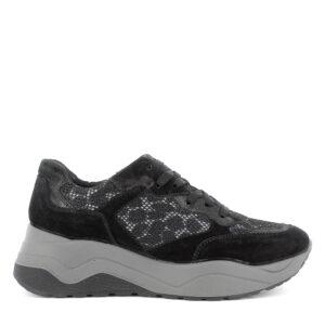 Sneaker maxi suola in scamosciato e tessuto rete lurex nero\IGI&CO