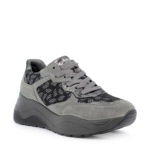 Sneaker maxi suola in scamosciato grigio e tessuto rete lurex nero\IGI&CO