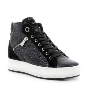 Sneaker alta con zeppa in pelle laminata stampata nero e zip ornamentale\IGI&CO
