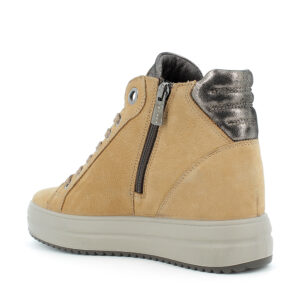 Sneaker alta con zeppa in pelle giallo chiaro e riporto in stampa leopardo con zip ornamentale\IGI&CO