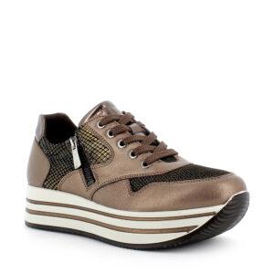 Sneaker in pelle e pelle sintetica stampata marrone chiaro con zip laterale\IGI&CO